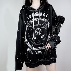Oversized Harajuku Unisex Hoodies Gothic Moon Phase Starry Pattern Witchcraft Cat Printed Women Men Loose Sweatshirts Plus Size