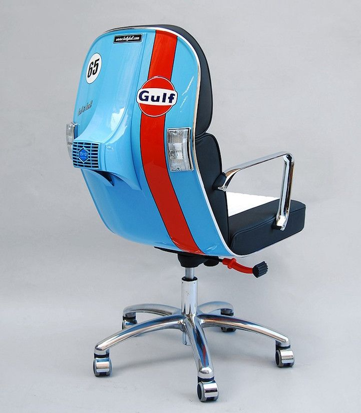 Original Parts From Vintage Vespas Turned Into Strikingly Modern Office Chairs Stylish Office Chairs Office Furniture Modern Modern Office Chair