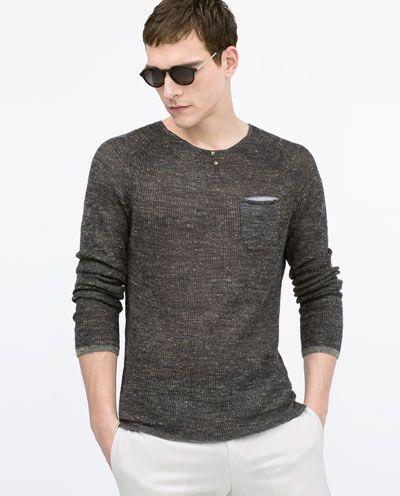 Henley neck sweater