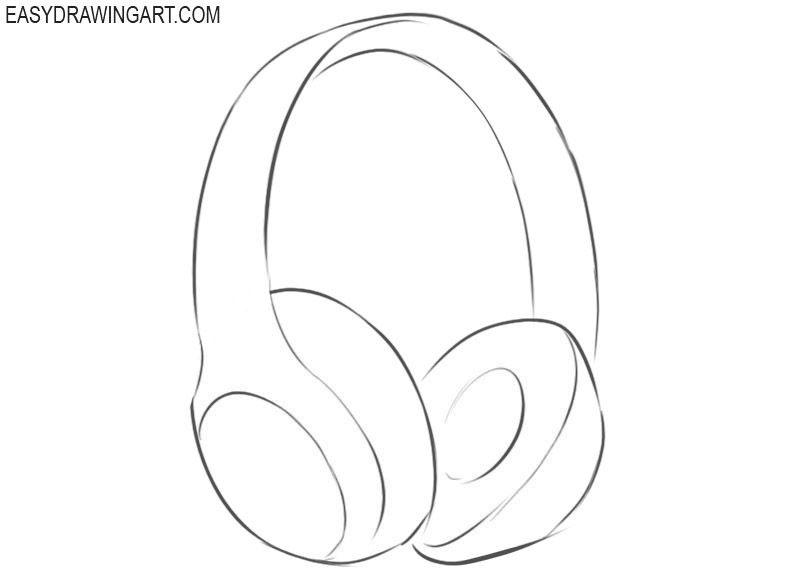 How To Draw Headphones Easy Headphones Drawing Headphones Art Drawing Tutorial Easy
