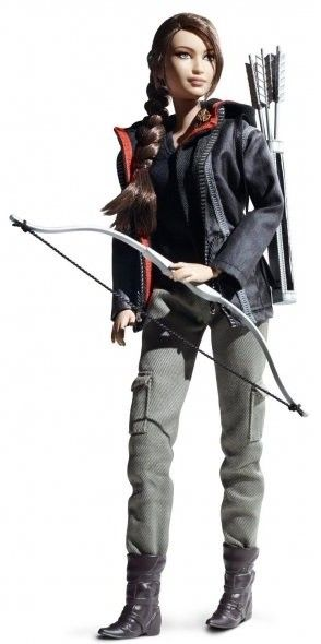 The Hunger Games Katniss Everdeen Barbie doll.  Love that she's dressed as she appeared in much of the movie. What do you think? #hungergames #barbie