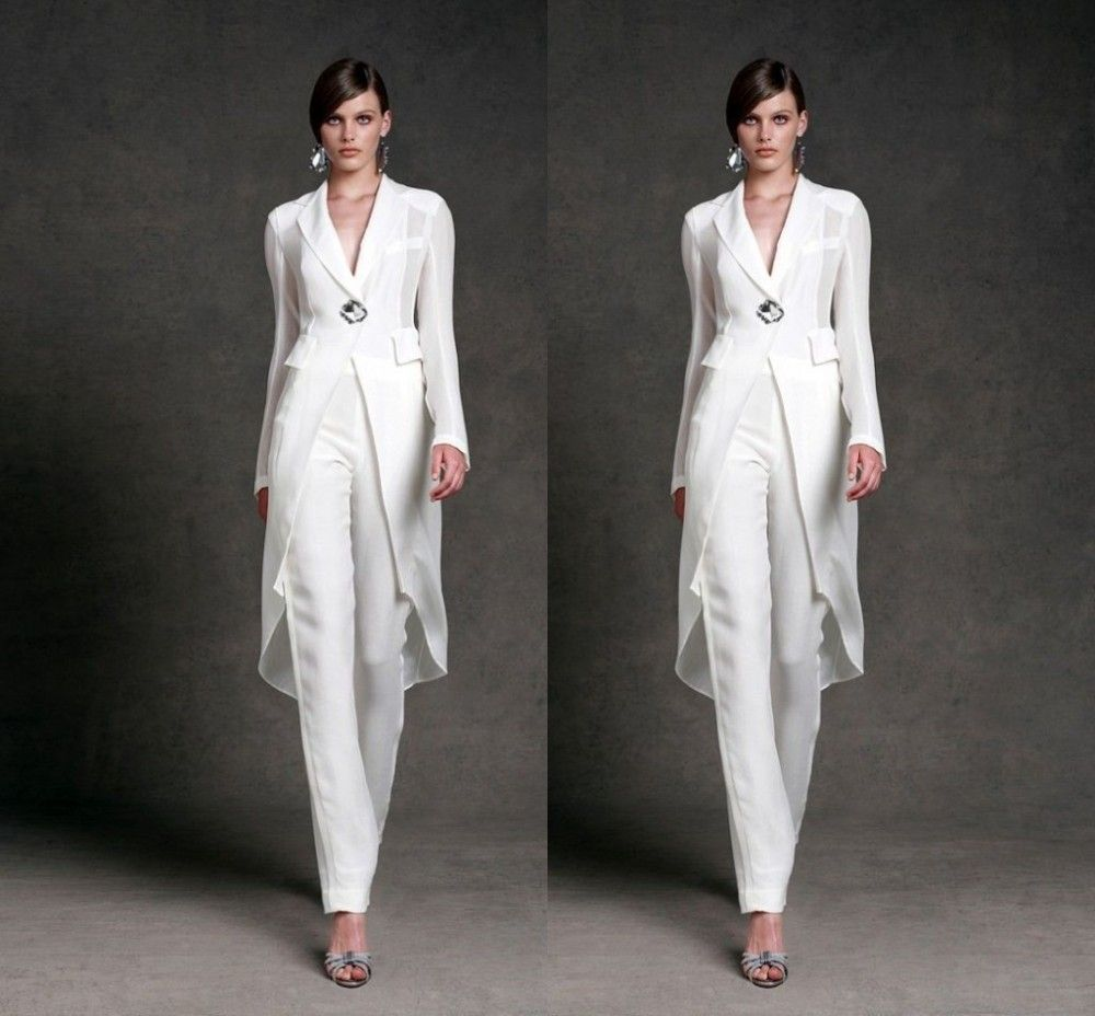 Elegant wedding pant suits - Price Tracker And History Of Plus Size Mother Of The Bride Pant Suits With Jacket White Crystal Party Dresses Elegant Long Sleeve Bridal Mother Dress