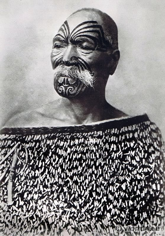 Tattooed Maori 1913, New Zealand.