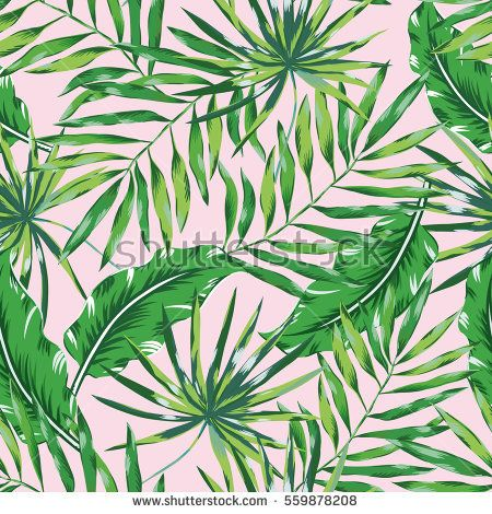 Green Palm Leaves On The Pink Background Vector Seamless Pattern Tropical Illustration Jungle Foliage Tropical Illustration Palm Leaves Pattern Palm Leaves