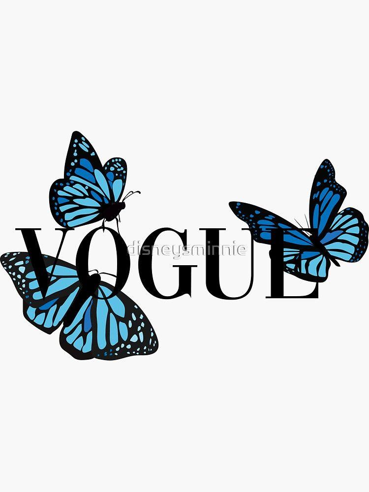 Vogue Blue Butterflies Sticker By Disneysminnie Redbubble Butterfly Wallpaper Iphone Blue Butterfly Wallpaper Wallpaper Iphone Cute