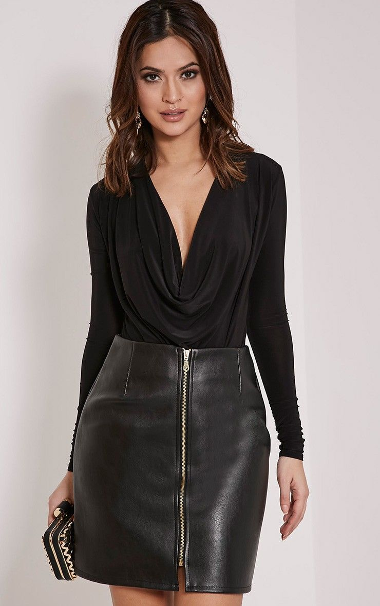 Chandra Black Faux Leather Zip Up Mini Skirt | Skirts | Pinterest ...