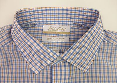 Roundtree /& Yorke Gold Label Non Iron EZ Wash Royal Oxford Dress Shirt $75 NWT