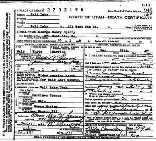George Henry Sperry death certificate | The Kelly Clan Family ...