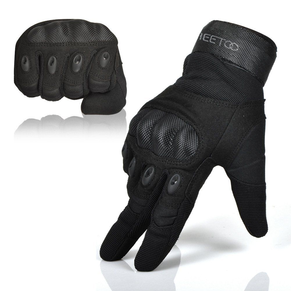Motorcycle gloves hard knuckles - Amazon Com Freetoo Men S Hard Knuckle Full Finger Military Gear Tactical Gloves Sports
