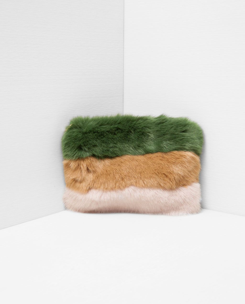 Image 2 Of Faux Fur Tricolour Clutch Bag From Zara