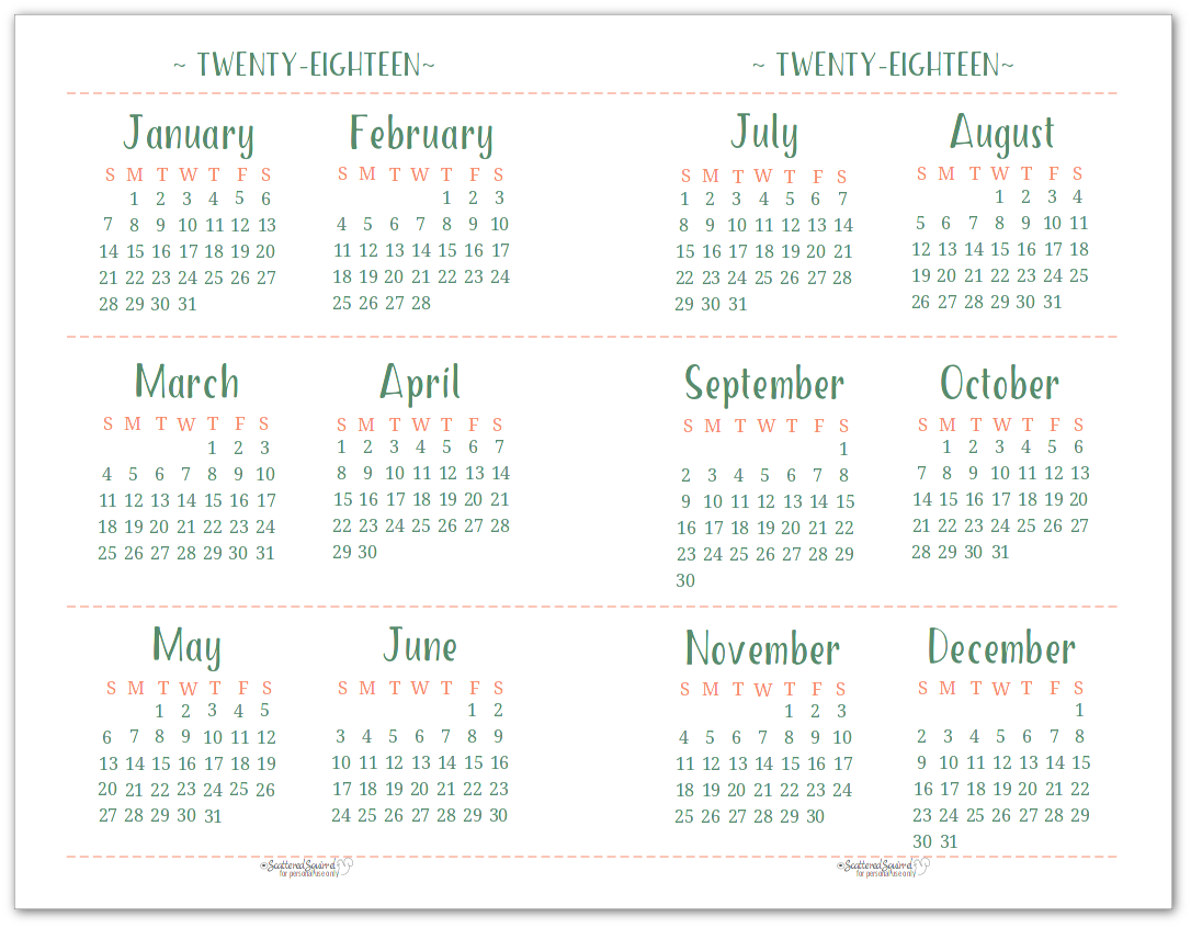Dated Yearly Calendar Printables Are Here