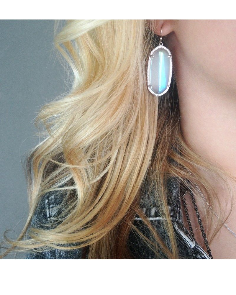 Elle Silver Earrings In Iridescent Slate Kendra Scott Jewelry