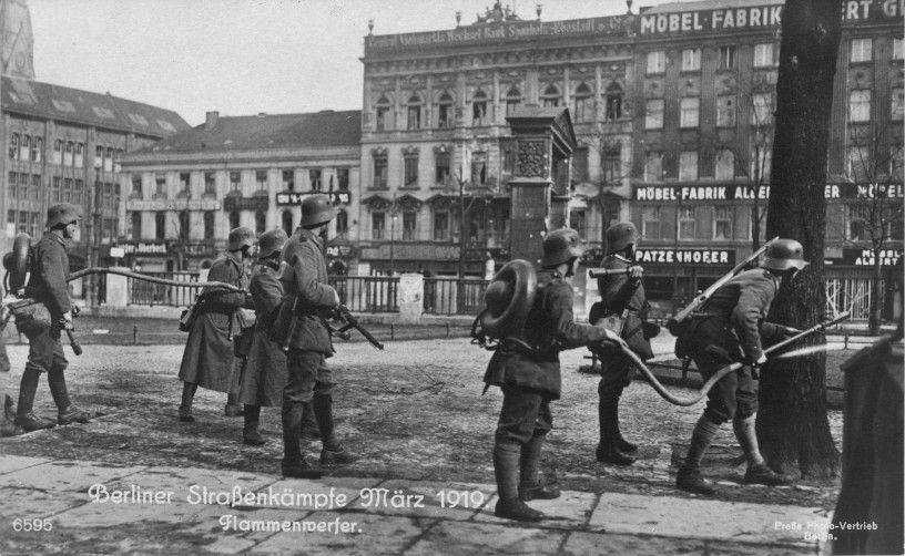 Freikorps unit  with flame-throwers . Berlin March 1919