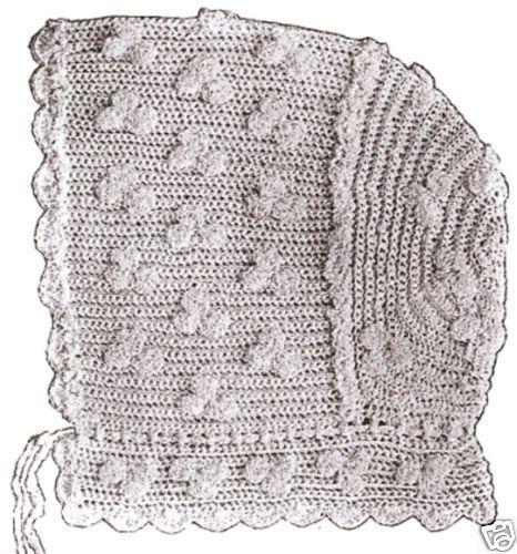 Vintage Antique Baby Cap Hat Bonnet Crochet Pattern H