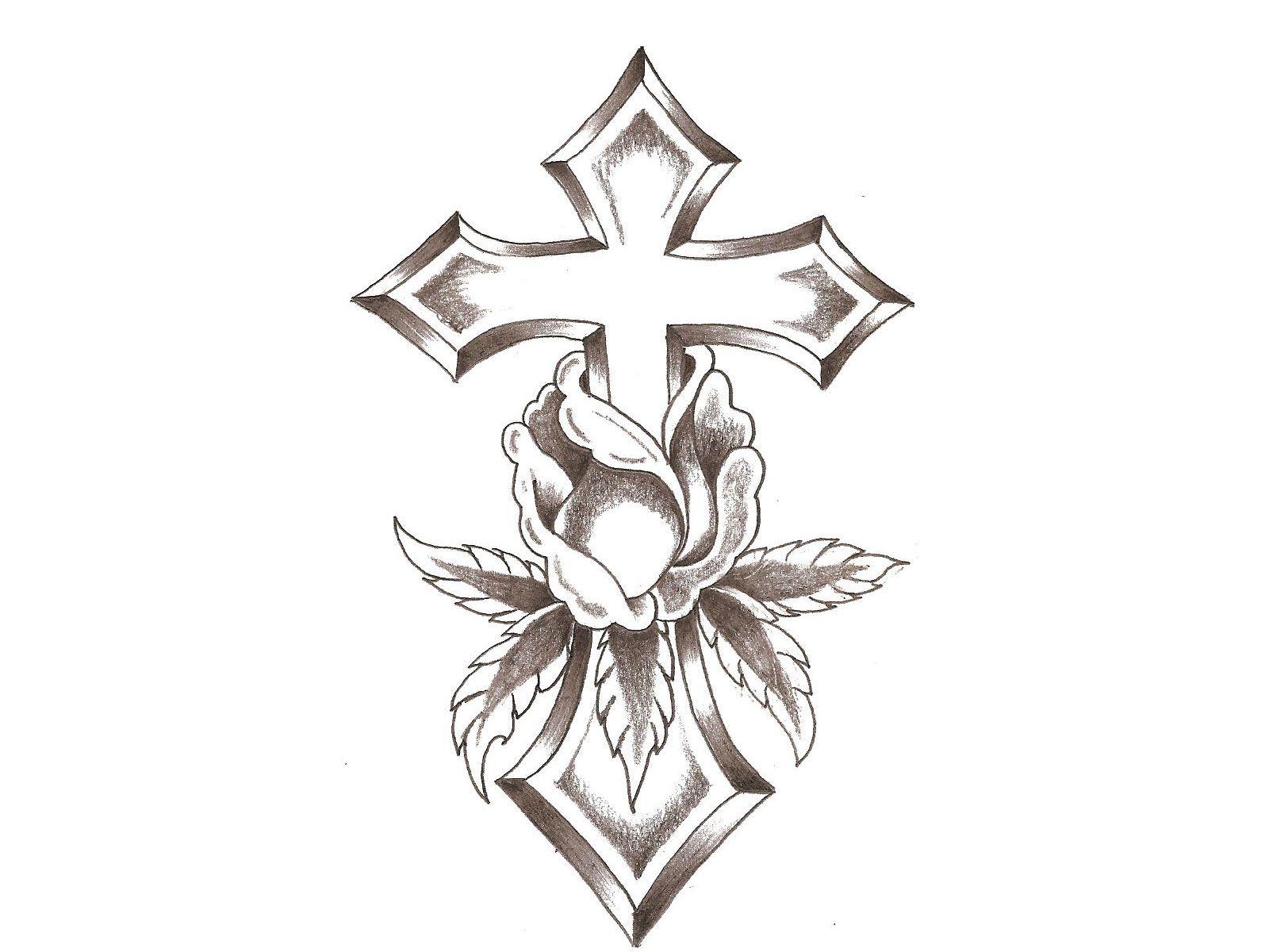 Pin On Cross Flower Tattoo