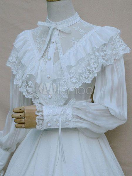 Süße Lolita Bluse weiß Vintage Neverland Spitze Rüschen Lolita Hemd ...