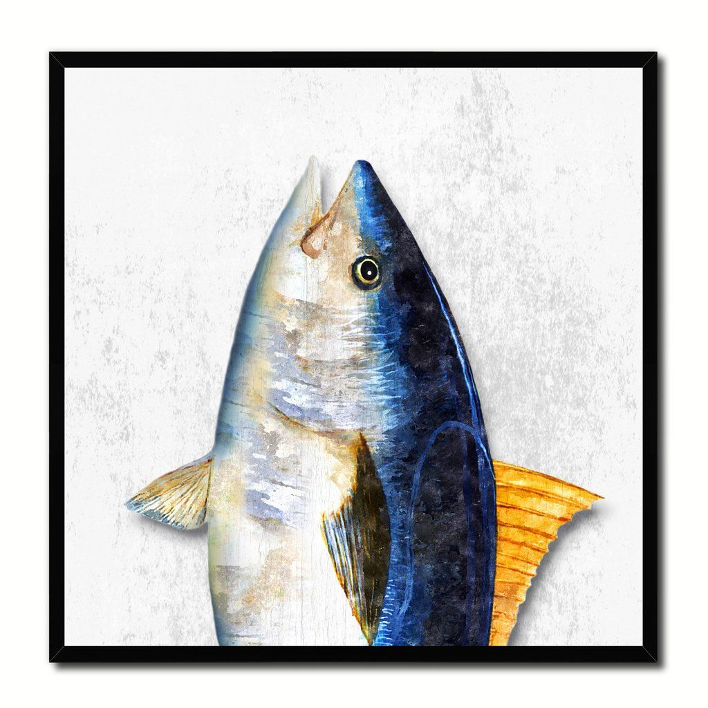 Blackfin Tuna Fish Head Art White Canvas Print Picture Frame Wall Home Decor  Nautical Fishing Gifts