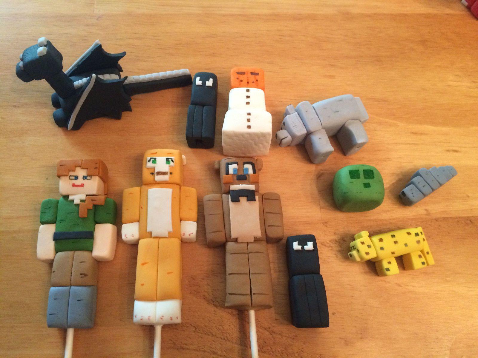 5 Custom Edible Fondant Minecraft Figures Cake Toppers