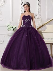 e3ec93c3f06 Dramatic Dark Purple Sweetheart Tulle Quinceanera Dress with Beading ...