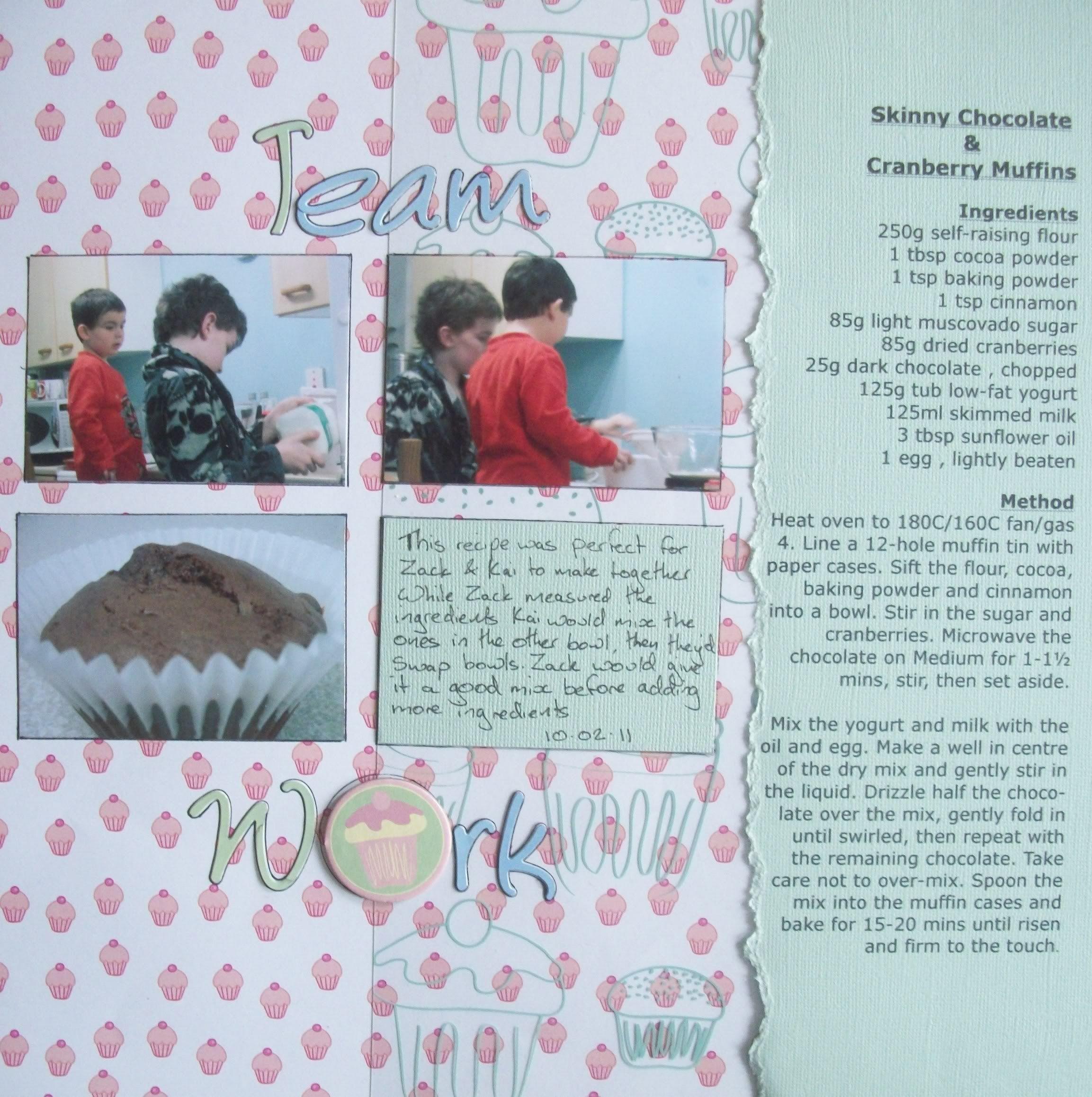 How to scrapbook recipes ideas - Team Work Recipe Scrapbook Page