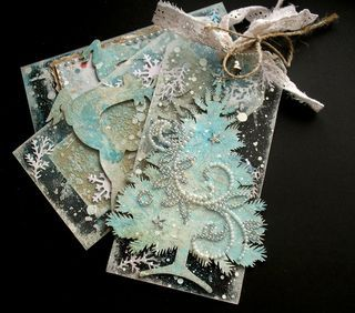 Clear Scraps Tags for Christmas.  Aren't these just the prettiest thing?  Someone could give me these as a gift and I'd be thrilled to bits!