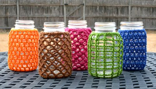 images about crochet jar covers and candle holders on