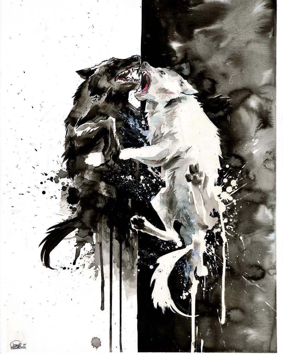 Two Wolves Is A Cherokee Legend And Illustrates The Most Important Battle Of Our Lives The One Between Our Good And Bad Wolf Tattoo Lora Zombie Werewolf Art