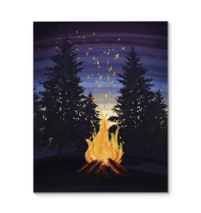 Moonlight Campfire Canvas Painting