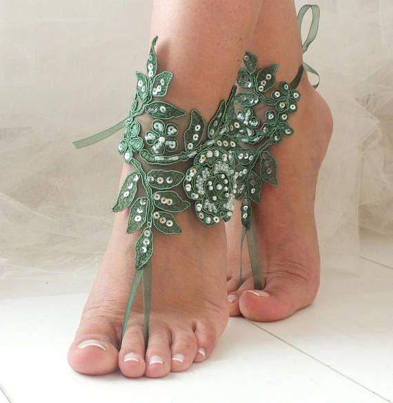 Barefoot Sandals Lace Bridal Shoes Beach Wedding Bridesmaid