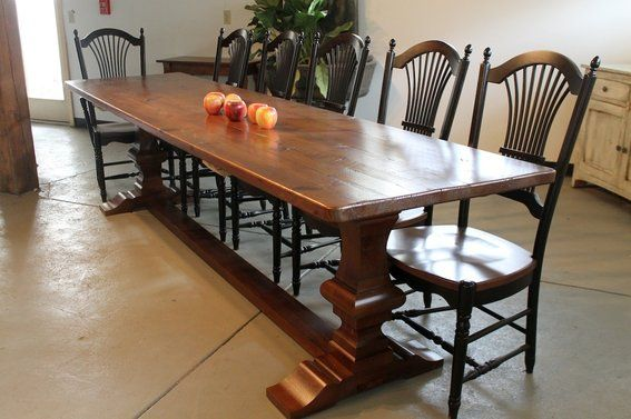 Reclaimed Wood Farmhouse Trestle Tables Custom Made 12ft Rustic Farmhouse Table With Vene Reclaimed Dining Table Rustic Farmhouse Table Farmhouse Dining Room