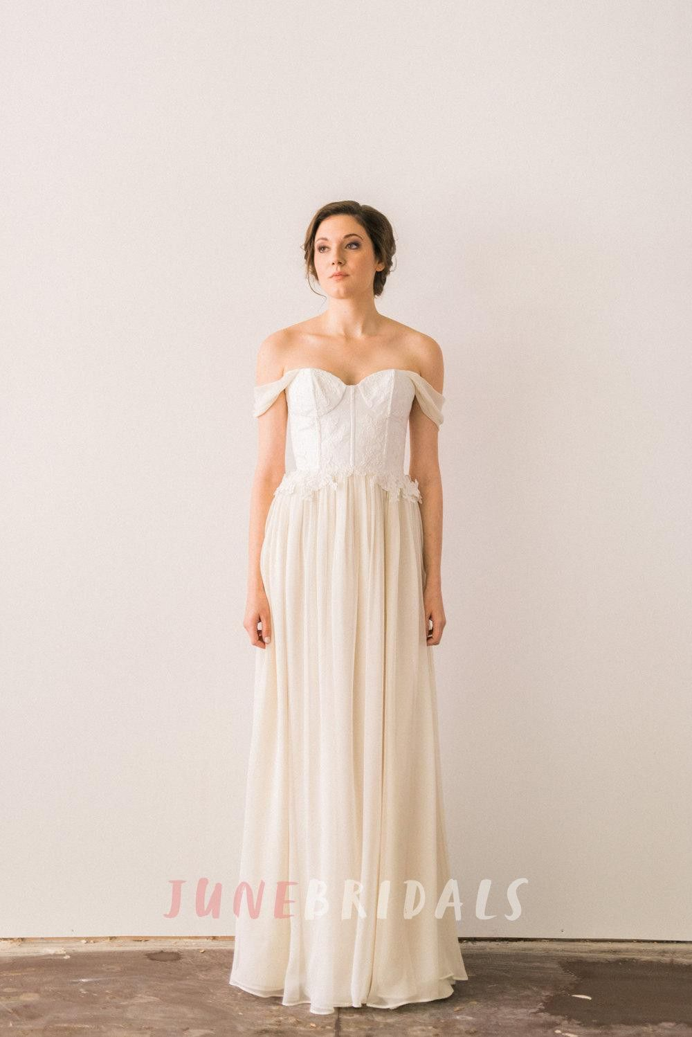Romantic Off the Shoulder Ivory Silk Chiffon Wedding Dress With Lace ...