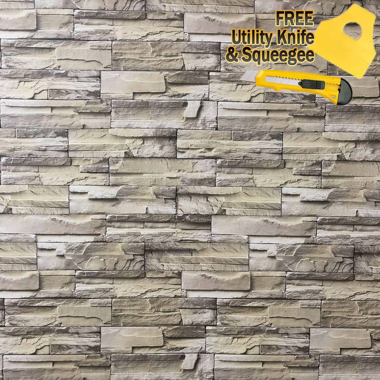 4ft x 15ft 3D Stone Brick Wallpaper Vinyl Film Sticker