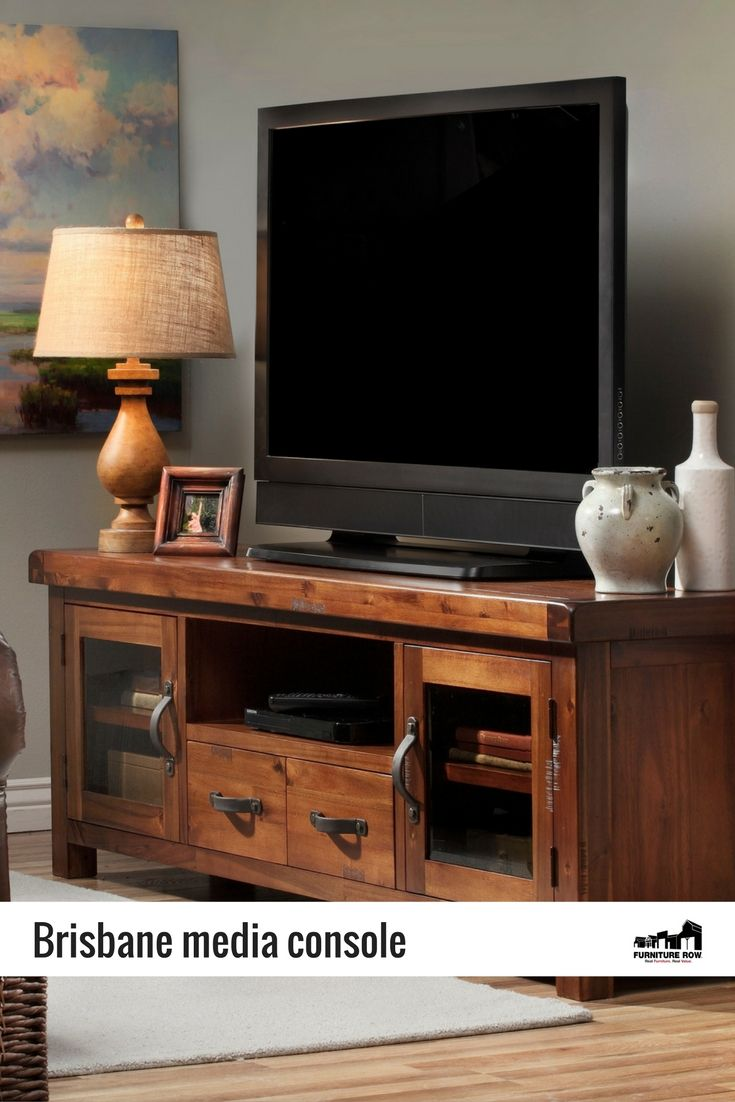 Brisbane Media Console Get Mission Style Storage In A Rich Distressed Chesnut Finish