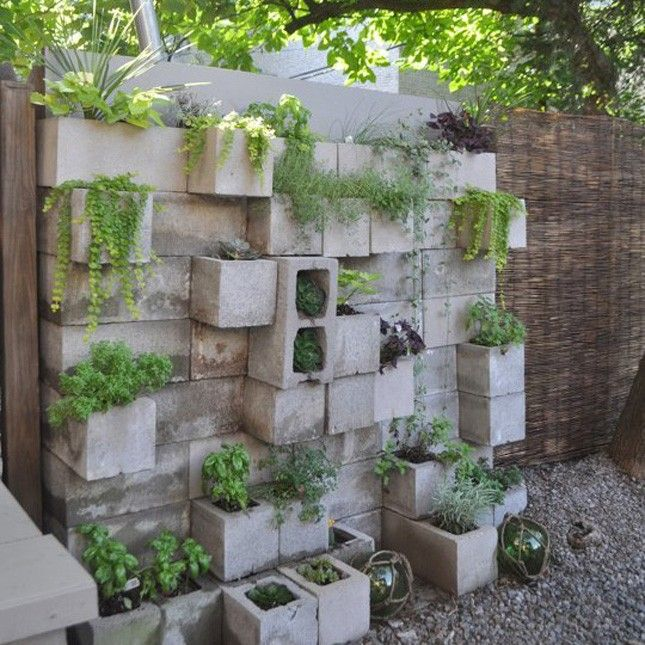 put your favorite plants on display with a gorgeous cinder block wall garden love this. Black Bedroom Furniture Sets. Home Design Ideas
