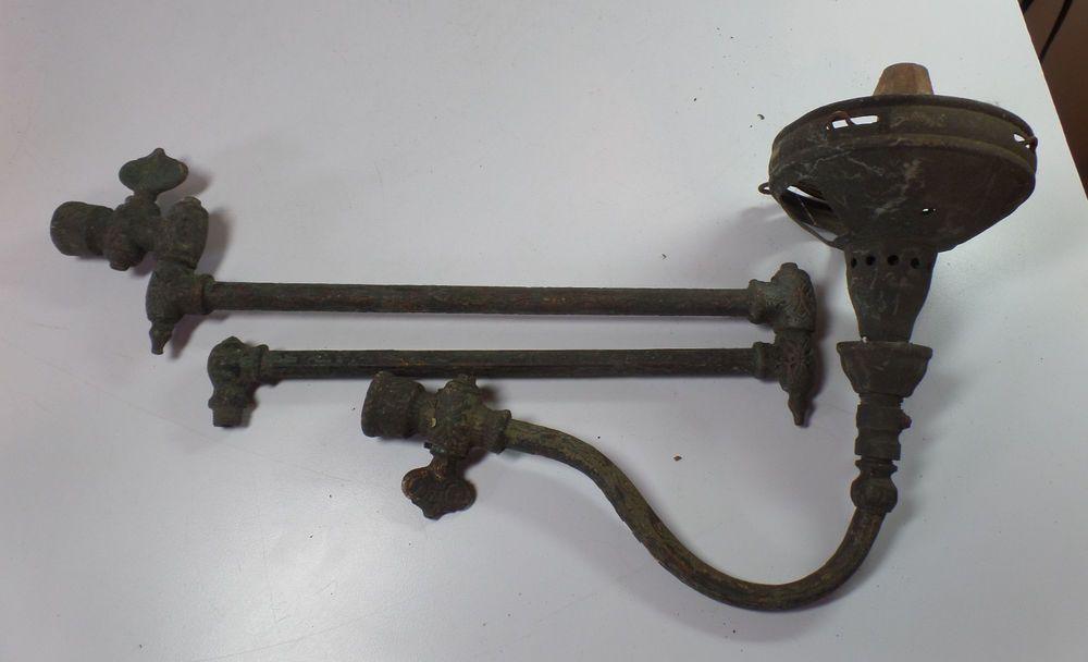 Antique Art Deco Nouveau Gas Wall Mount Light Lamp Arms Parts Repair Restoration Gas Lamp Gas Lights Light Fittings