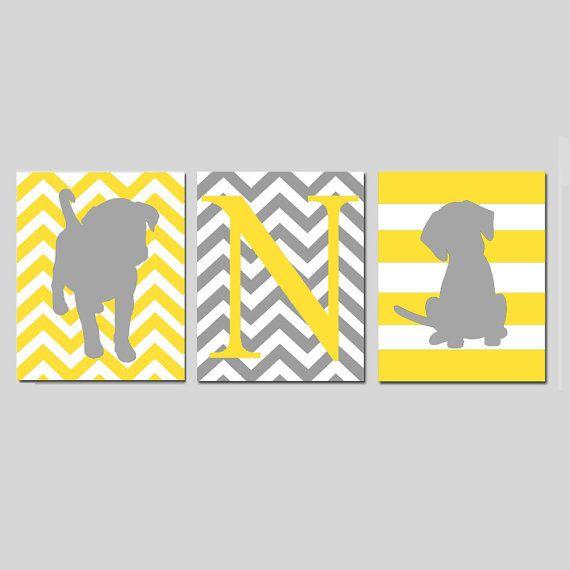 Dog Nursery Art Trio - Set of Three 11x14 Prints - Chevron Puppy, Chevron Monogram Initial, Striped Puppy Dog - Choose Your Colors on Etsy, $59.50