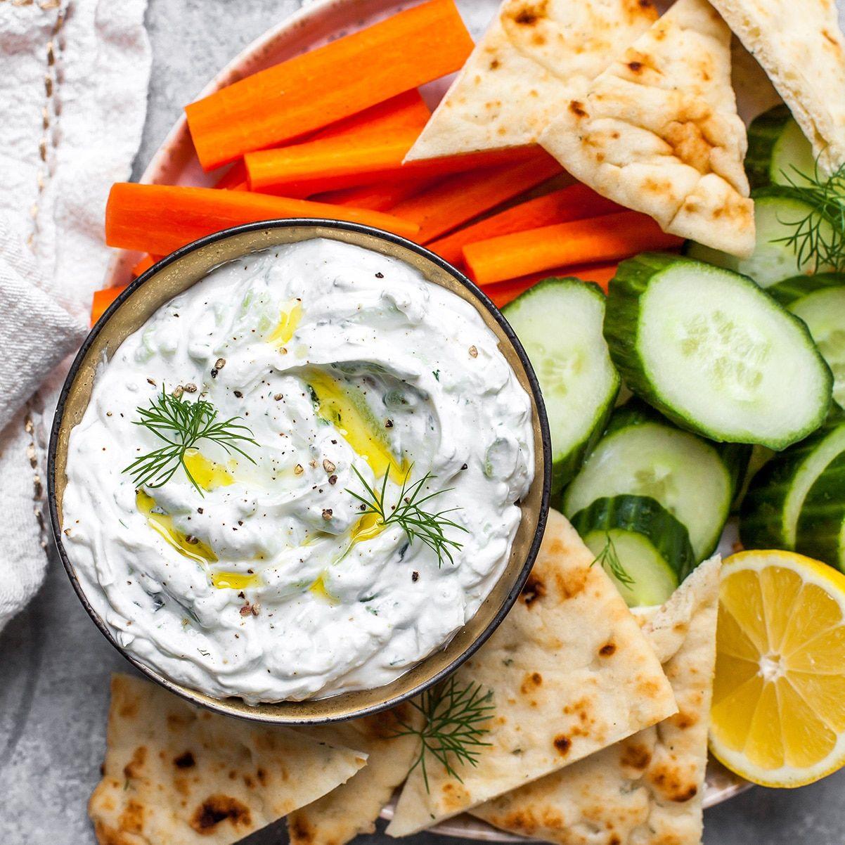 The Best Homemade Tzatziki Sauce Recipe This Easy Tzatziki Sauce Is Made With Greek Yogurt Sour Cream A In 2020 Greek Recipes Homemade Tzatziki Mediterranean Recipes