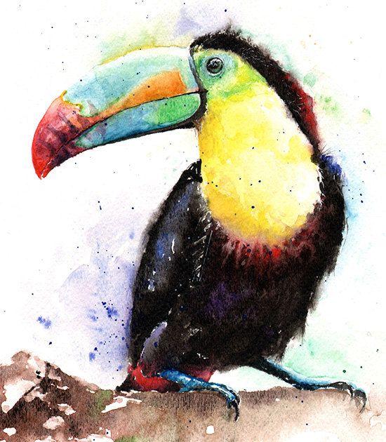 WATERCOLOR TOUCAN PRINT – keel-billed toucan painting, bird art, watercolor bird painting, bird gifts, tropical bird painting, bird decor