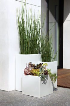 modern powder-coated stainless steel planters