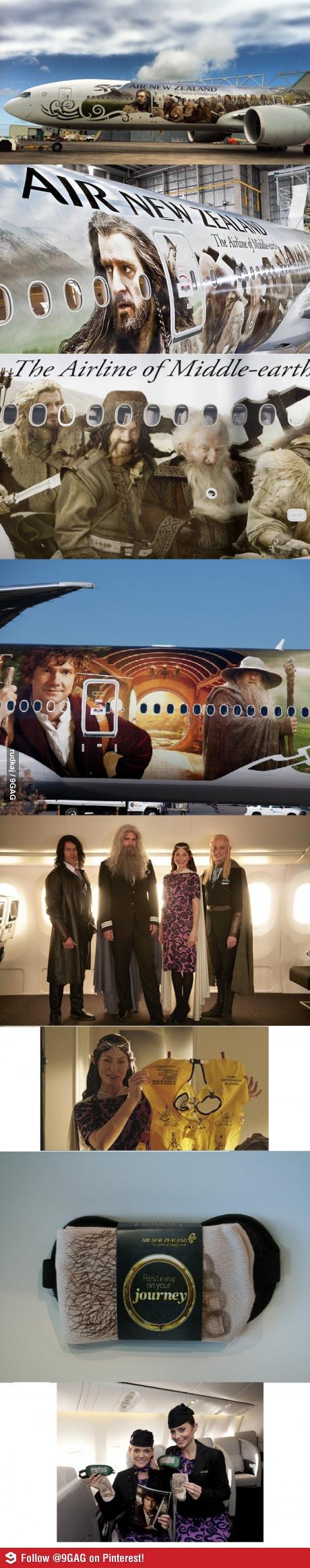 New Zealand airlines goes in Hobbit-style Best idea ever!! @Valorraine Dattan