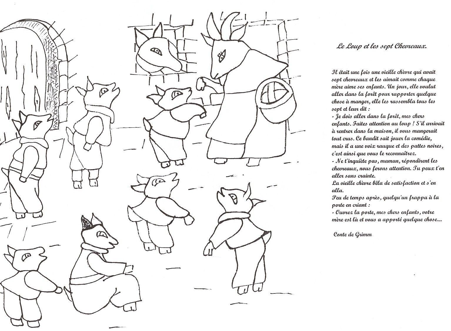 Modele chevreaux 1534 1128 sept chevreaux pinterest le loup loups et le conte - Coloriage de conte ...