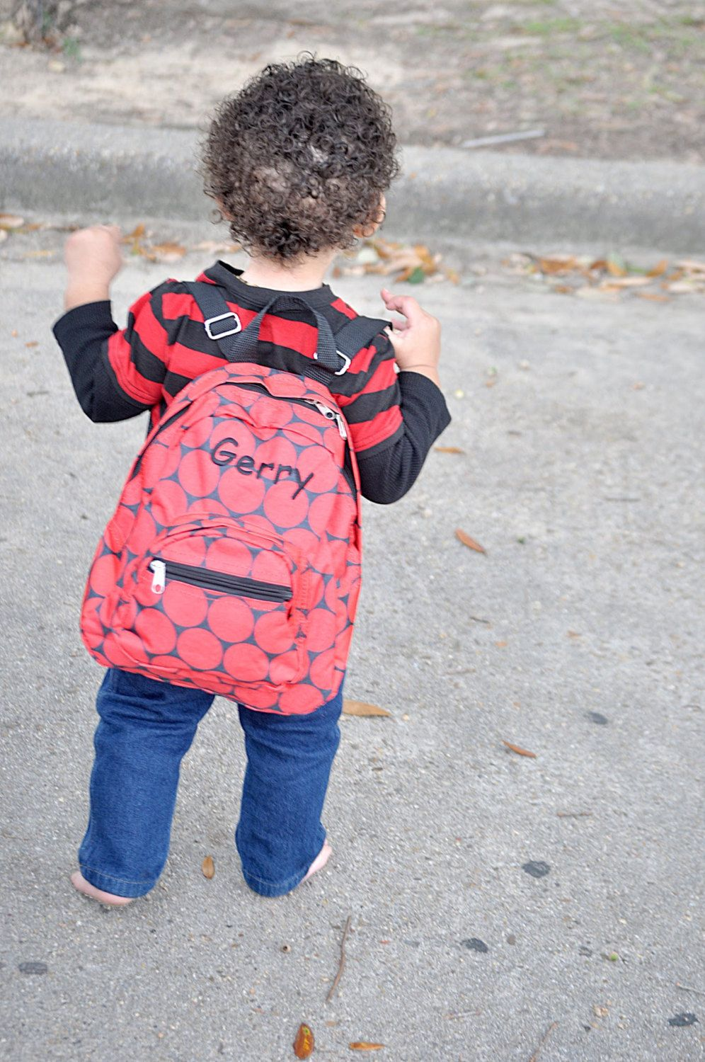 c521571beccab Monogrammed Mini Toddler Backpack - Red and Black Dots Napsack -  Personalized with Embroidered Name or Initials by D84Designs on Etsy