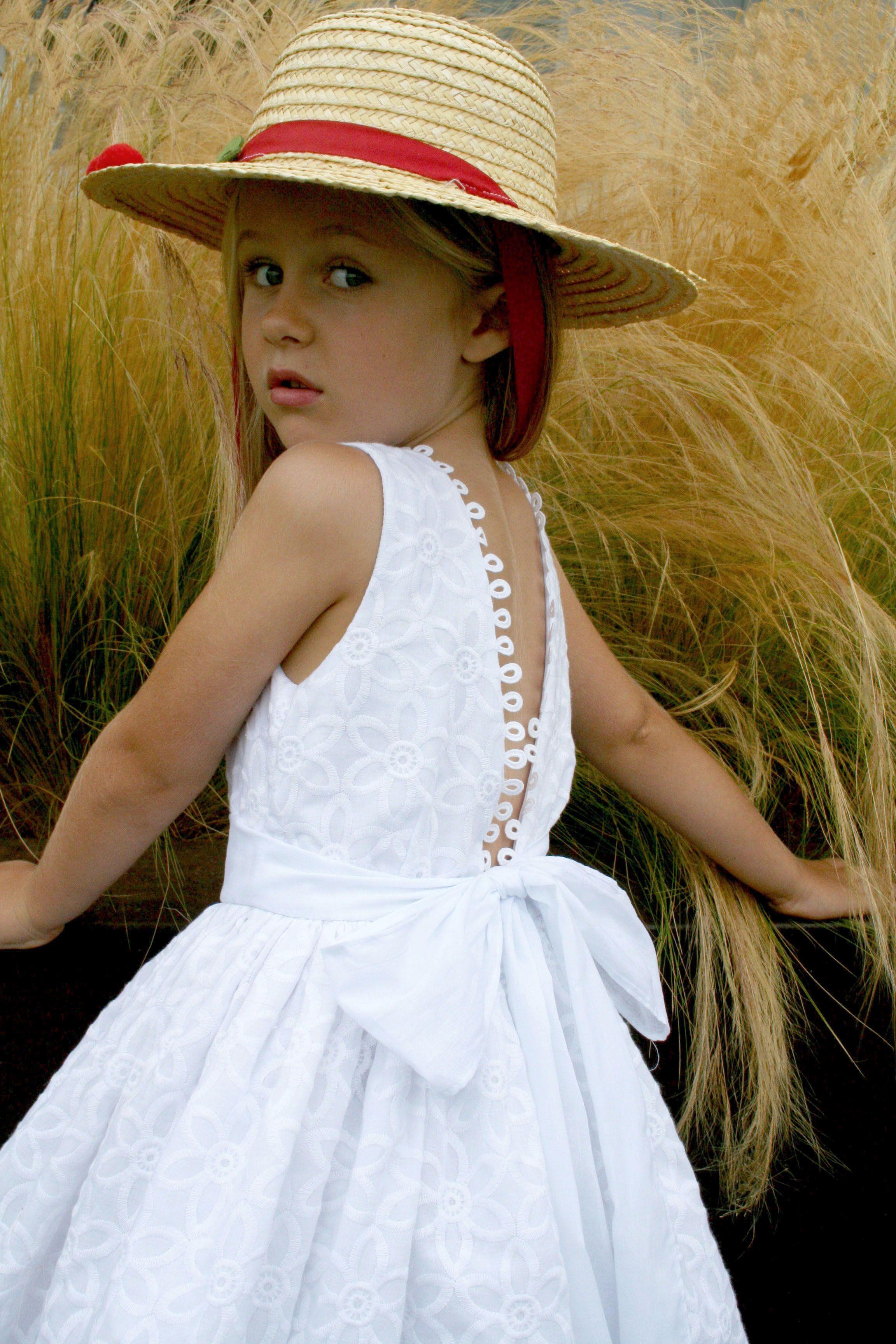 White Cotton Eyelet Dress With Open Back Trimmed Wit White Cotton Loops Fully Lined Isabel Garreton Spring Summ Dresses Spring Summer Dress Summer Dresses [ 3456 x 2304 Pixel ]