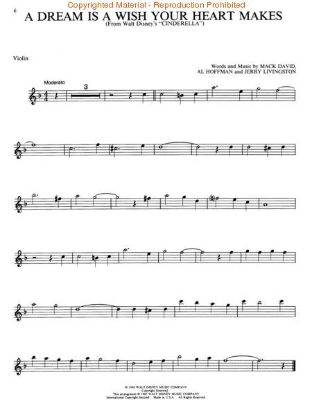 A Dream Is A Wish Your Heart Makes Violin Sheet Music Sheet