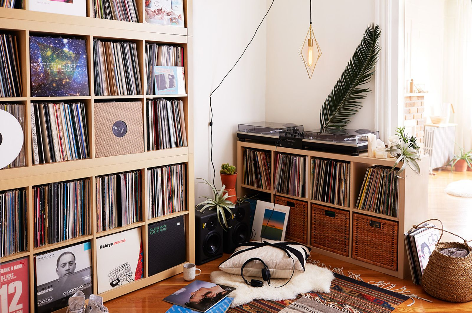Bret's extensive record collection fills a corner of the space.
