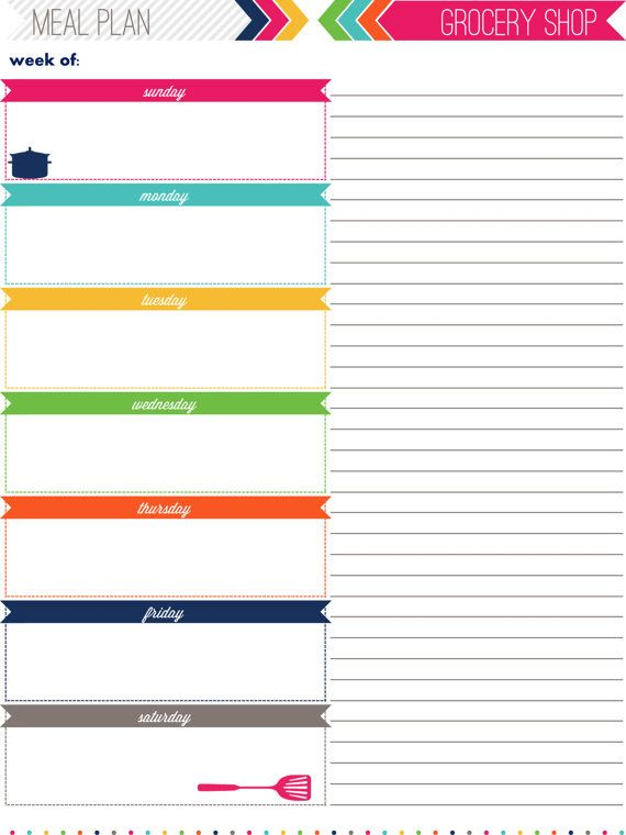 Meal Planning  Shopping List Printable By Iheartorganizing