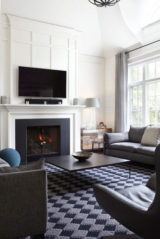 Transitional Fireplace Mantels Google Search White Paneling Living Room With Fireplace Black Living Room