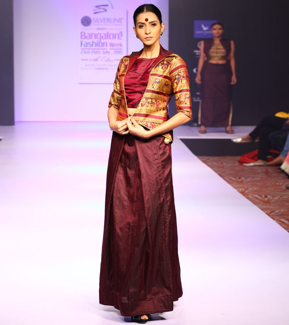 Wine Raw Silk Skirt Set With Crop Top And Baluchari Printed Jacket Indianroots Fusionwear Skirtset Croptop Jacket Silk Silk Skirt Skirt Set Print Jacket