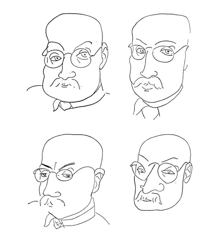 Four drawings-portraits perhaps - by Matisse in 1947