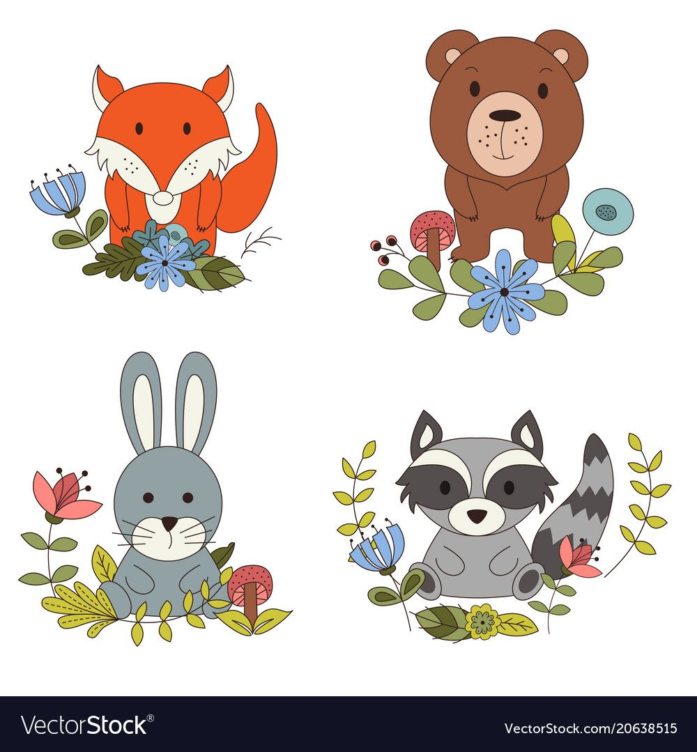 Woodland animals with cartoon hand drawn forest Vector